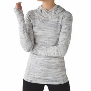 LULULEMON Think Fast Hoodie Space Dye White Silver